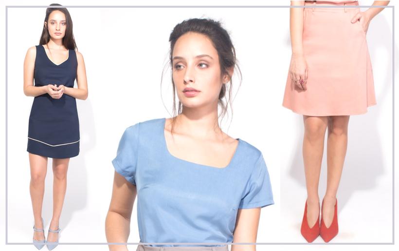 לבוש משרדי body cover טרנדים יומיום לבוש משרד ורוד חצאית שמלה כחול מידי תכלת חולצה עבודה משרד