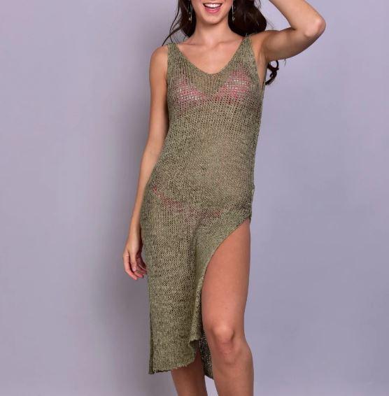 שמלת חוף רשת ירוקה