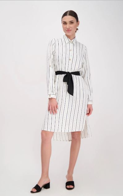 שמלה לבנה פסים רנואר