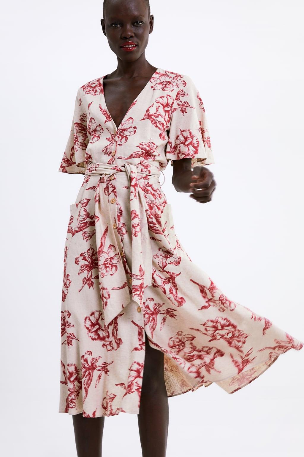 שמלה פרחונית לבנה זארה