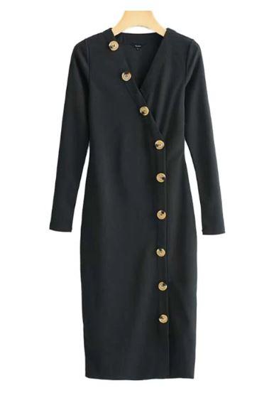 שמלה שחורה כפתורים זארה