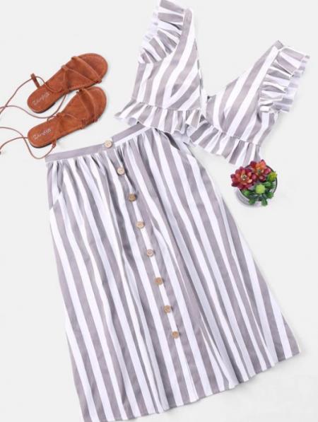 סט פסים קרופ כחול לבן חופשה חצאית טופ