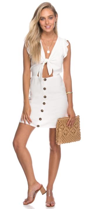 שמלה לבנה כפתורים קיץ2018 קרופ עדיקה
