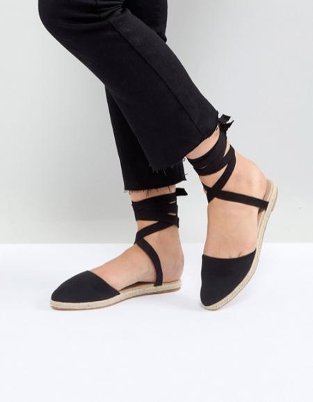 אספרדיל נעליים סנדלים שחור שחורות שרוכים אסוס קניות אינטרנט asos פשנגה fashanga says