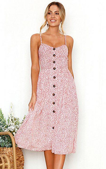 שמלה מידי פרחונית איביי כפתורים מכופתרת