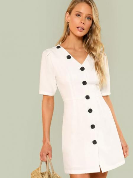 שמלה מכופתרת לבנה טרנד shein קניות שופינג fashanga says פשנגה