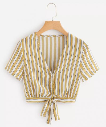 חולצת פסים צהוב צהובה חרדל טרנד shein קניות שופינג fashanga says פשנגה