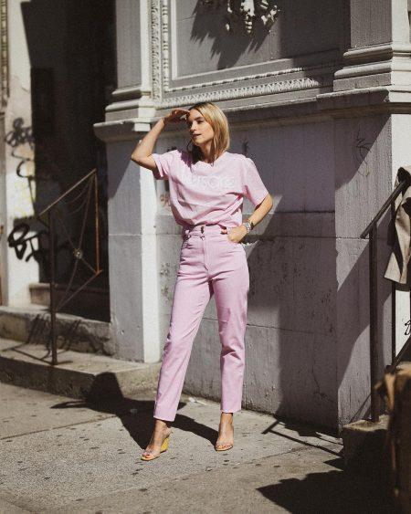 thefashionguitar סגול לילך טרנד צבעי פסטל אופנה בלוגרית פאשיוניסטה טרנדים צבעים מכנסיים חולצה סטייל ורוד