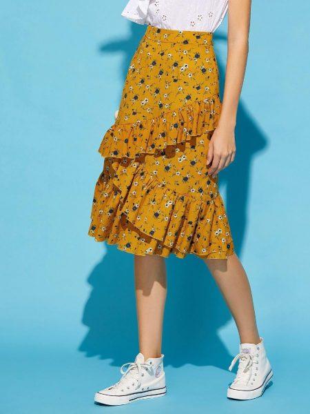 פשנגה מבצע אופנה 2018 קיץ טרנד צהוב פרחוני חצאית