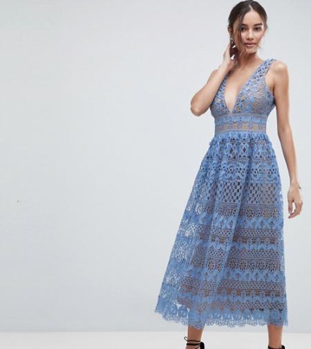 שמלה שמלות נשף 2018 אסוס asos פשנגה fashanga style חגיגי תכלת תחרה