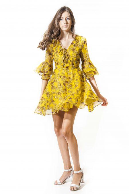 שמלה קיץ צהוב צהובה פרחים פרחוני הדפס אונליין קניות